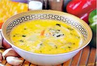 Сырный суп с овощами и зеленью