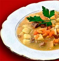 Финская кухня. Мясной суп с брюквой.
