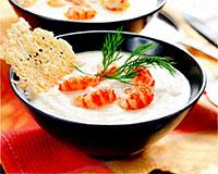 Крем-суп с рыбой и креветками