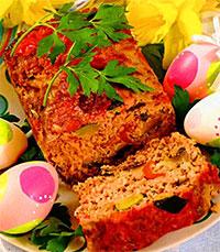 Мясной рулет с овощами (пасхальный стол)