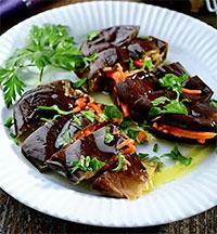 Маринованные - баклажаны, фаршированные морковью (Заготовки на зиму)